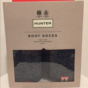 Hunter Glitter Cuff Boot Socks Black Fleece